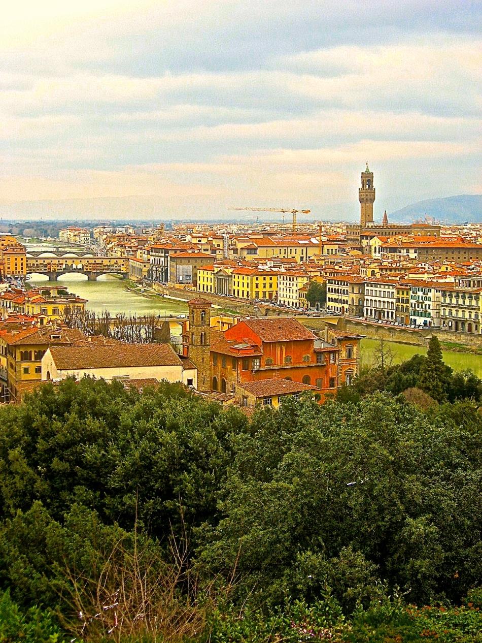 Florence, the Arno, Ponte Vecchio and Palazzo Signoria