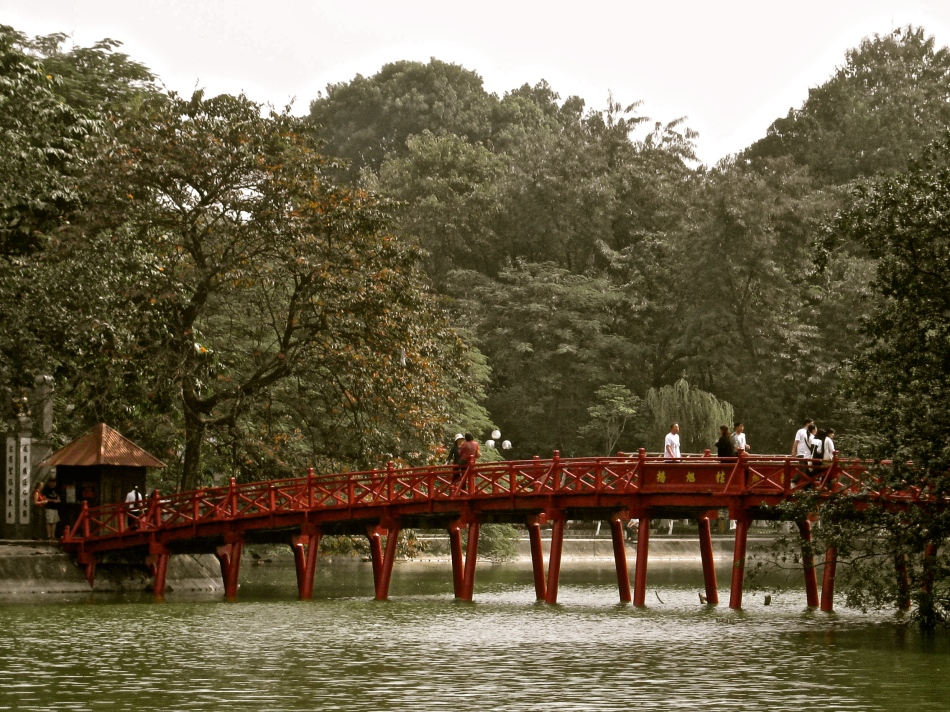 Huc Bridge across Hoan Kiem Lake
