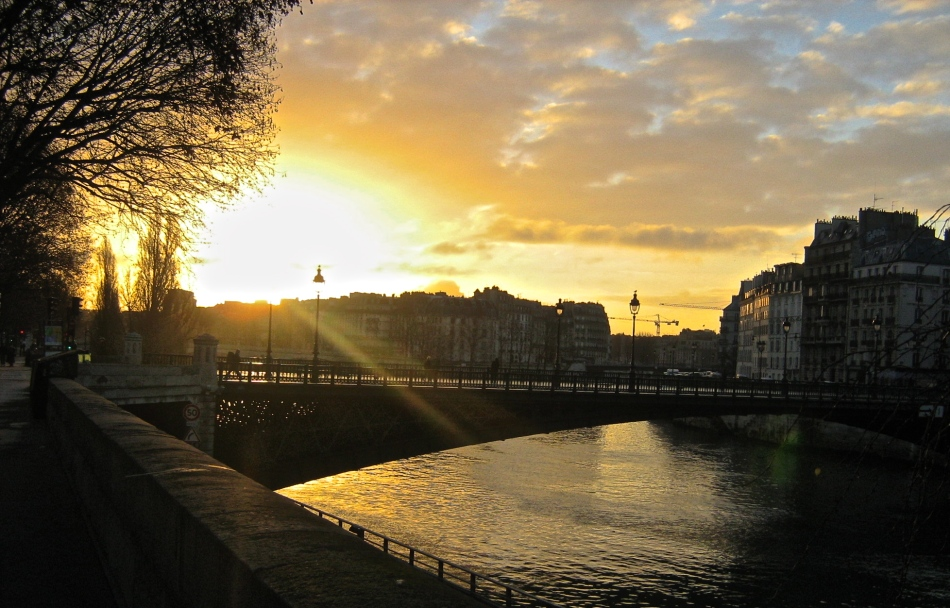Parisian Bridge at Sunrise